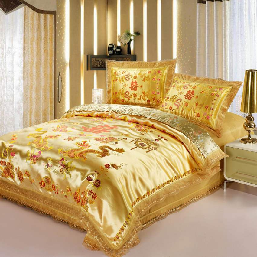 Red Wedding Satin Duvet Cover Set Dragon And Phoenix Bedding Set Print Modern Suits Jacquard Bedclothes 4pcs/2pcs