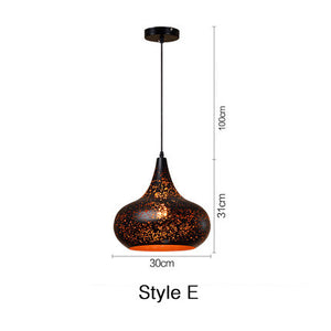 Pendant Lights Modern Kitchen Lamp Dining Living Room Nordic Loft Retro Cafe Bar Etching Hanging Lamp Lighting Fixture