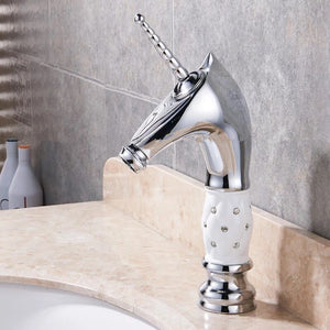 Golden Unicorn Faucets Bathroom Crystal Body Basin Mixer Tap Noble Gorgeous Swivel Basin Sink Faucet
