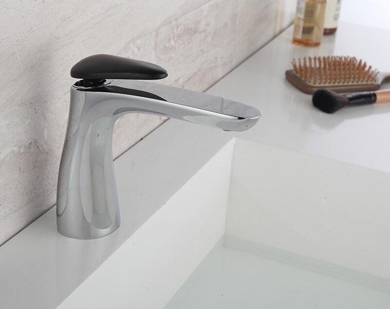 Basin Faucets Bathroom Faucet Single handle Basin Mixer Tap Hot and Cold Water Tap Basin Faucet black and white