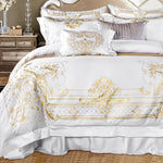 White Egyptian Cotton Bedding Set Super King Queen Size Bed Set Luxury Golden Embroidery Bedding Sets Bed Sheet Set Duvet Cover
