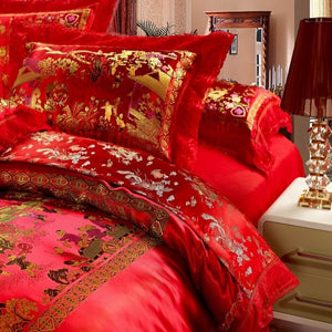 *Red Wedding Satin Duvet Cover Set Dragon And Phoenix Bedding Set Print Modern Suits Jacquard Bedclothes 4pcs/2pcs