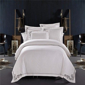 100% Cotton White Embroidered Hotel Bedding Set 4/6Pcs King Queen Size Luxury Hotel Duvet Cover Set Bedding Sheets Set