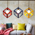 Pendant Lights Lamp, Modern Colorful Frame LED Kitchen Light Lamp Shade For Kitchen Island Luminair Restaurant Decoration