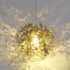Nordic Pendant Lights Glass Pendant Lamp Modern Lustre Fish Tank Steel Flower Suspend Kitchen Light Fixtures Lighting