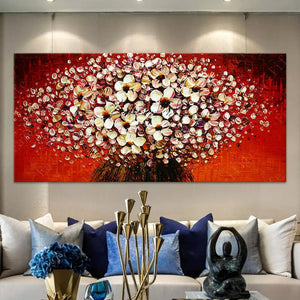 Flowers Painting On Canvas Wall Pictures For Living Room Quadro Cuadro Decoration Palette Knife 3D Texture Acrylic Floral Decor