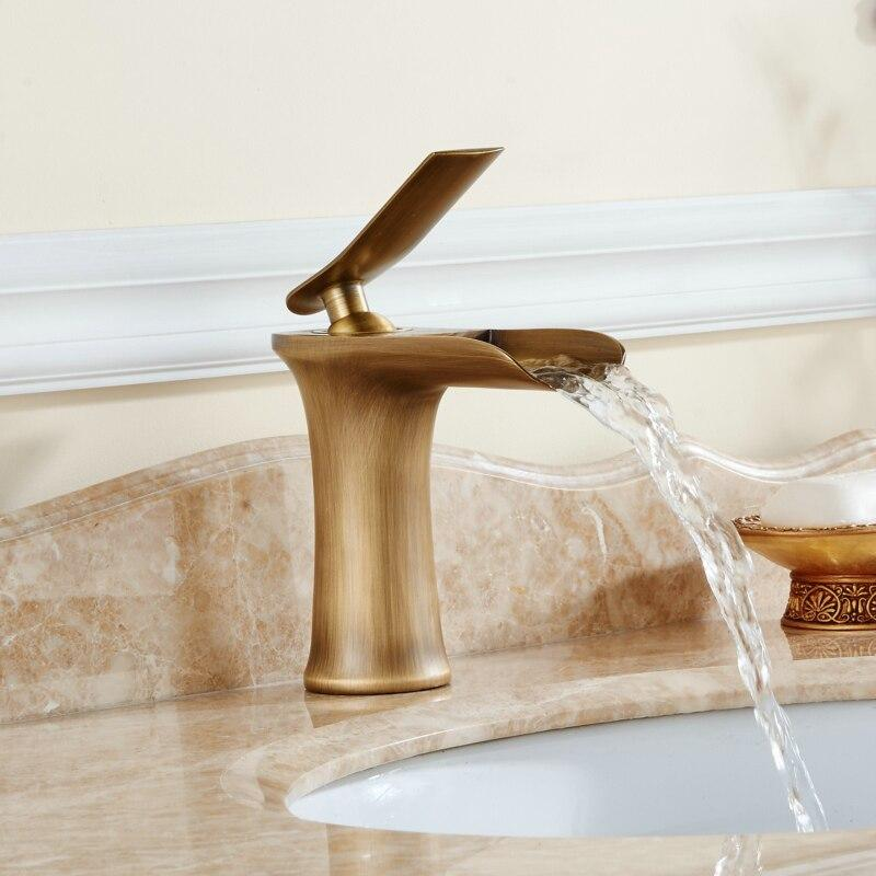 Basin Faucet Waterfall Bathroom Faucets Single handle Basin Mixer Tap  Antique Faucet Brass Sink Water Crane Taps 130-11A