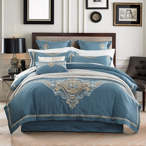 New Embroidery Egyptian Cotton Luxury Bedding Set Queen King Size Bed Set Duvet Cover Bed/Fitted Sheet Couvre Lit De Luxe