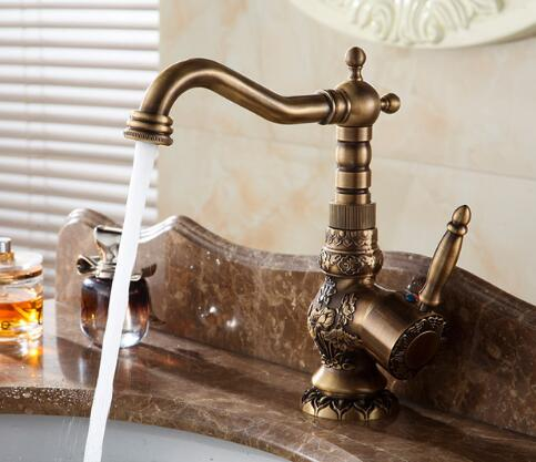 Basin Faucets Antique Brass Bathroom Faucet Basin Carving Tap Rotate Single Handle Hot and Cold Water Mixer Taps Crane