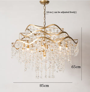Snowflake Crystal Chandelier Light Luxury Bedroom American Style Chandeliers Hanging Lamp Home Art Decor Suspension Luminaire