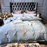 Egyptian Embroidery Cotton Luxury King Queen Size Bedding Set Duvet Covers Classical Blue Pink Bed Cover Set Couvre Lit De Luxe