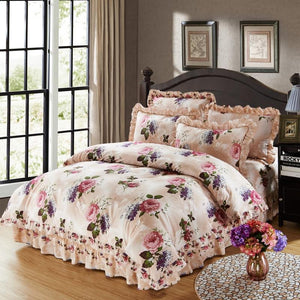 100% Cotton Soft Bedclothes Queen King Size Bedding Sets Quilted Thick Bed Spread Duvet Cover Bed Sheet Set Pillowcase 4/6Pcs