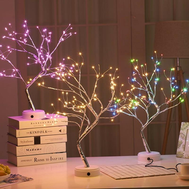 108 LED USB 3D Table-Lamp Copper Wire Christmas Fire Tree Night Light For Home Holiday Bedroom Indoor Kids Bar Decor Fairy Light
