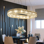 Lighting LED K9 Crystal Chandelier Lustre Modern Oval Shape Chandeliers Light Lighting Living Room Chandeliers