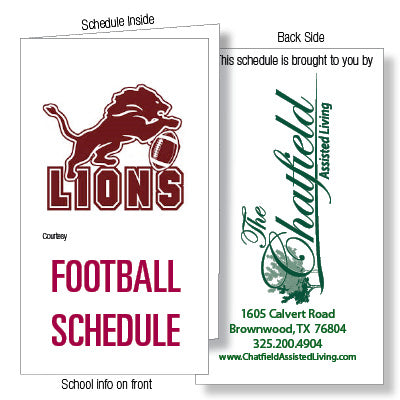 Fold Over Sports schedule cards