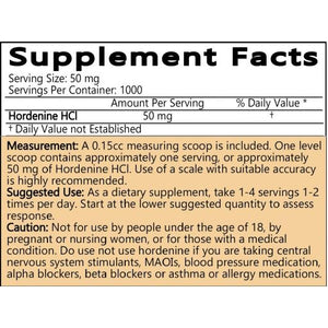 HORDENINE HCL POWDER - 50 GRAMS (1.76 OZ) - 98% PURE