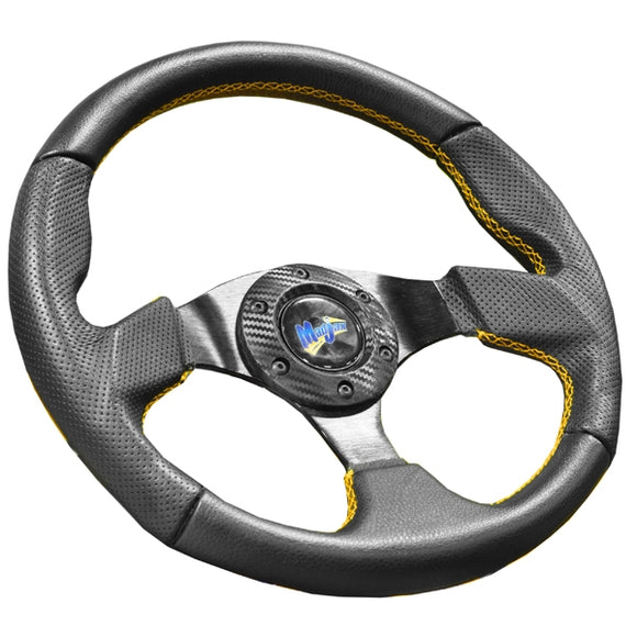 Madjax Burnout Steering Wheel with Yellow Stitched Accents