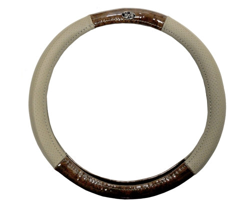 Madjax Woodgrain and Tan Steering Wheel Cover