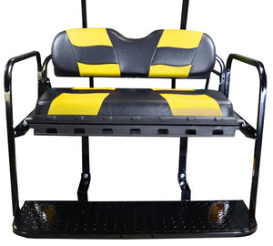 Madjax Genesis 150 with Riptide Black/Yellow Cushions Rear Flip Seat - Fits E-Z-GO RXV 2008-Up