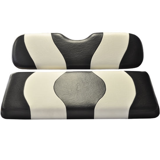 Madjax Wave Black/White Two-Tone Club Car Precedent Front Seat Covers (Fits 2004-Up)