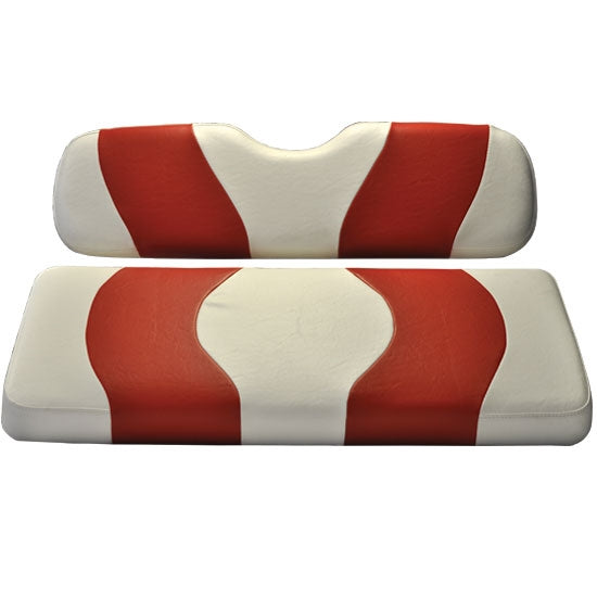 Madjax Wave White/Red Two-Tone Club Car Precedent Front Seat Covers (Fits 2004-Up)