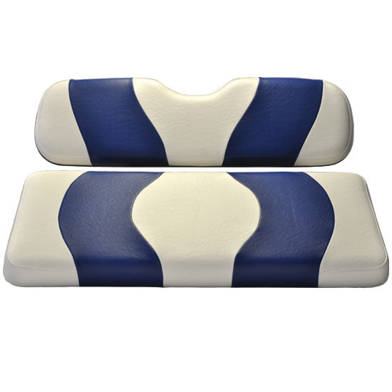 Madjax Wave White/Blue Two-Tone Club Car Precedent Front Seat Covers (Fits 2004-Up)