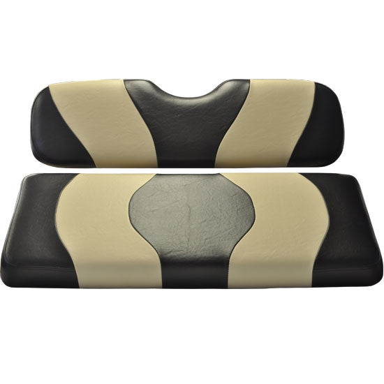 Madjax Wave Black/Tan Two-Tone Club Car Precedent Front Seat Covers (Fits 2004-Up)