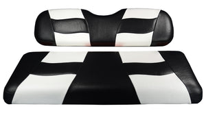 Madjax Riptide Black/White Two-Tone EZGO TXT & RXV Front Seat Covers