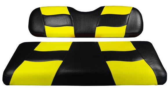 Madjax Riptide Black/Yellow Two-Tone Club Car Precedent Front Seat Covers (Fits 2004-Up)
