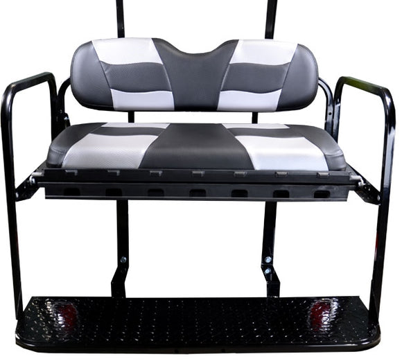 Madjax Genesis 150 Black/Silver Carbon Riptide Rear Seat Kit - Fits EZGO TXT/T48 (Years 1994.5-Up)