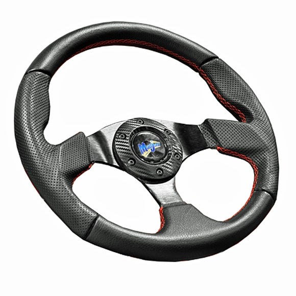Madjax Burnout Steering Wheel with Red Stitched Accents