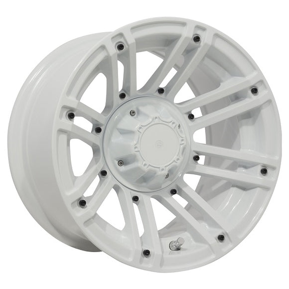 "12"" MJFX Avenger White Wheel with Optional Color Inserts (3:4 Offset)"