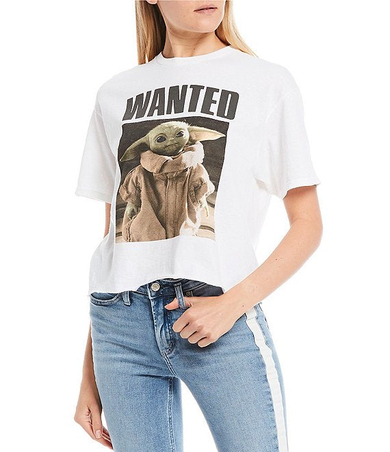 Women's Juniors Wanted Baby Yoda Star Wars Graphic Tee T-Shirt