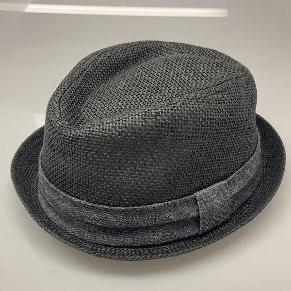 Mens Black 21 Woven Short Brim Fedora Hat
