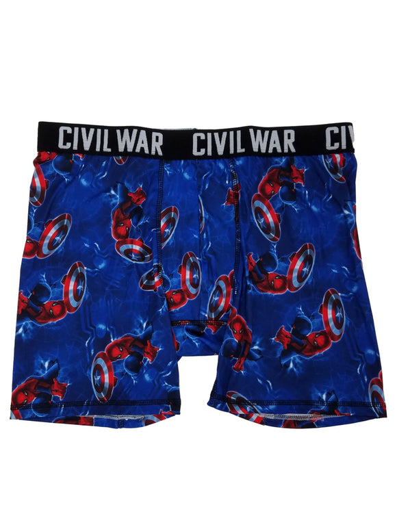 Mens Marvel Civil War Spider-Man Captain America Shield Boxer Briefs