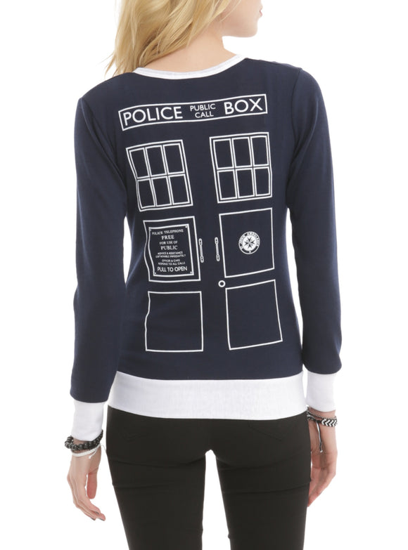 Womens Juniors Doctor Who Her Universe Union Jack TARDIS Cardigan Jacket