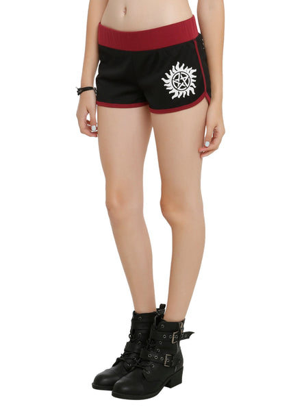 Womens Juniors Supernatural Black & Maroon Logo Lounge Shorts