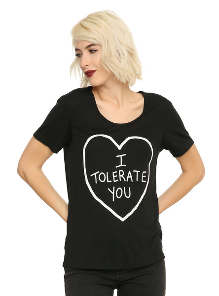 Womens Juniors Black Matter I Tolerate You Tee T-Shirts