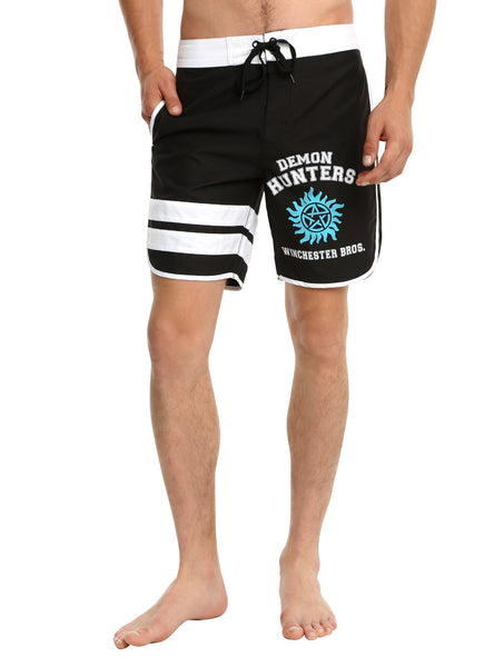 Mens Black Supernatural Demon Hunters Winchester Bros Swim Trunks