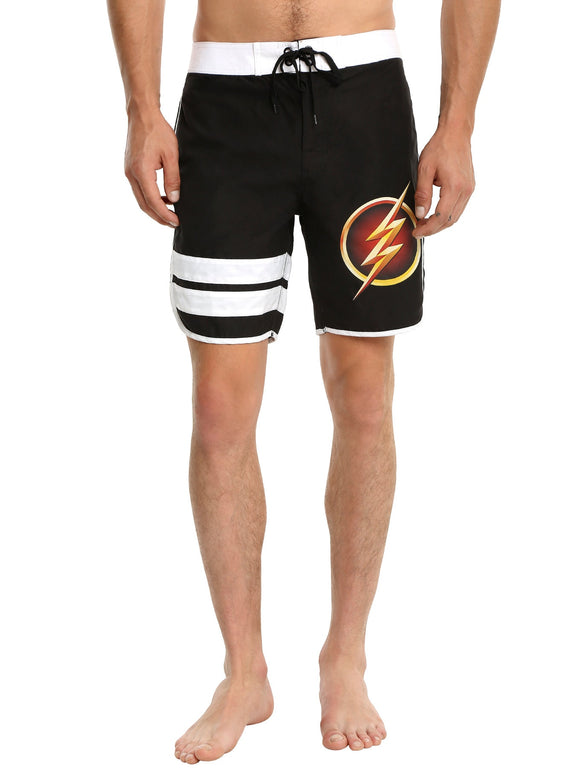 Mens Black The Flash DC Comics Swim Trunks