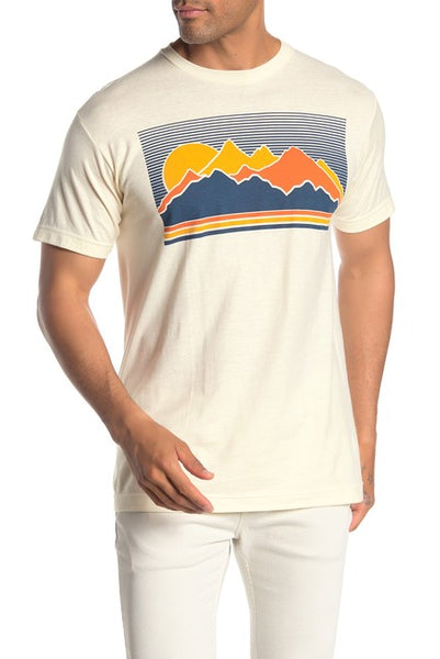 Mens Vintage Mountain Short Sleeve Graphic Print Tee T-Shirt
