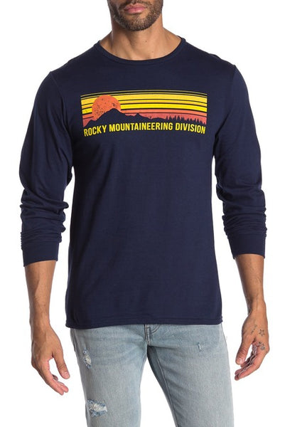 Mens Blue FIFTH SUN Rocky Mountaineering Long Sleeve T-Shirt Tee