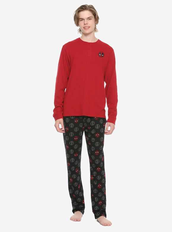Mens Marvel Deadpool Logo Sleep Set Henley Long Shirt Lounge Pants