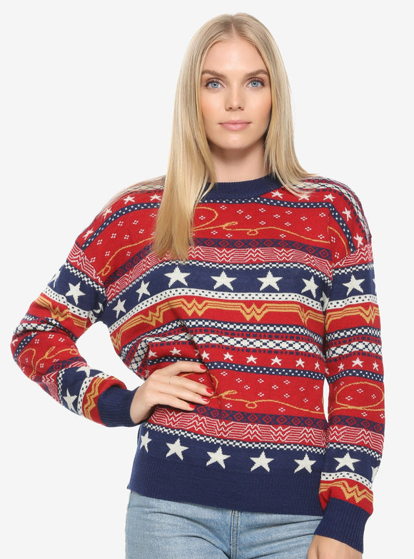 Adult Womens DC Comics Wonder Woman Holiday Sweater
