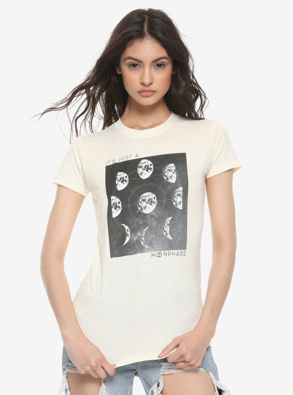 Womens Juniors Just A Moon Phase Beige Tee T shirt