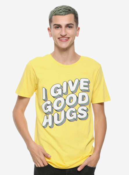 Mens Yellow Jessie Paege I Give Good Hugs Tee T-Shirt
