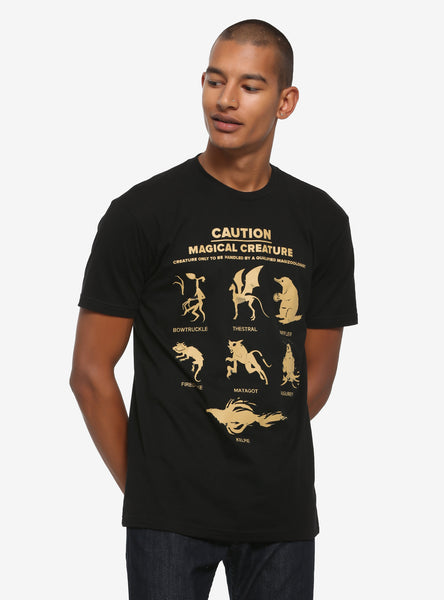 Mens Black Fantastic Beasts: The Crimes of Grindelwald Caution Magical Creature T-Shirt Tee
