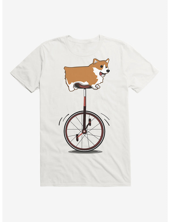 Men's White Extra Soft Unicycle Corgi T-Shirt Tee