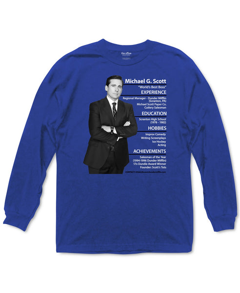 Mens Blue The Office Michael Scott Resume Graphic Long Sleeve Tee T Shirt