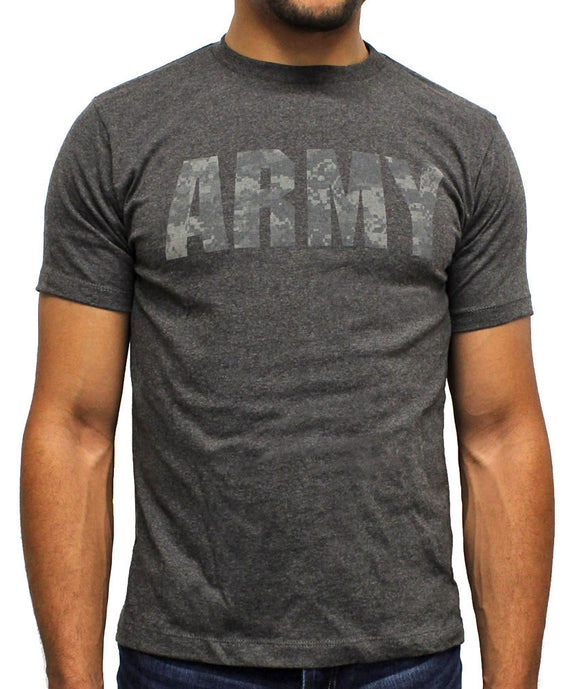 Mens U.S. Army Licensed Camoflauge Camo Charcoal Heather Tee T Shirt